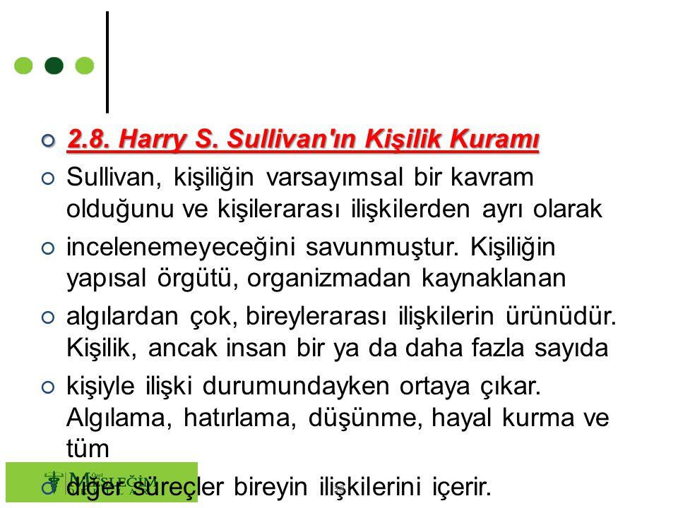 ○ 2.8. Harry S. Sullivan'ın Kişilik Kuramı ○ Sullivan, kişiliğin varsayımsal bir kavram olduğunu ve kişilerarası ilişkilerden ayrı olarak ○ inceleneme