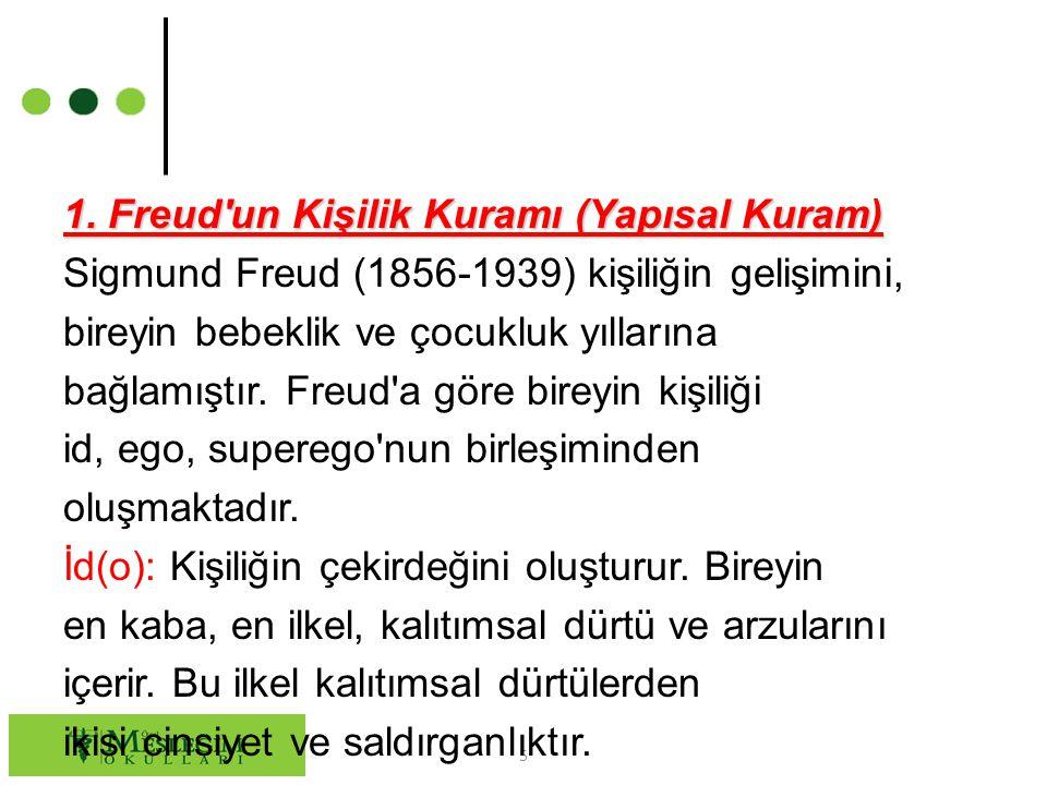 5 1. Freud'un Kişilik Kuramı (Yapısal Kuram) Sigmund Freud (1856-1939) kişiliğin gelişimini, bireyin bebeklik ve çocukluk yıllarına bağlamıştır. Freud
