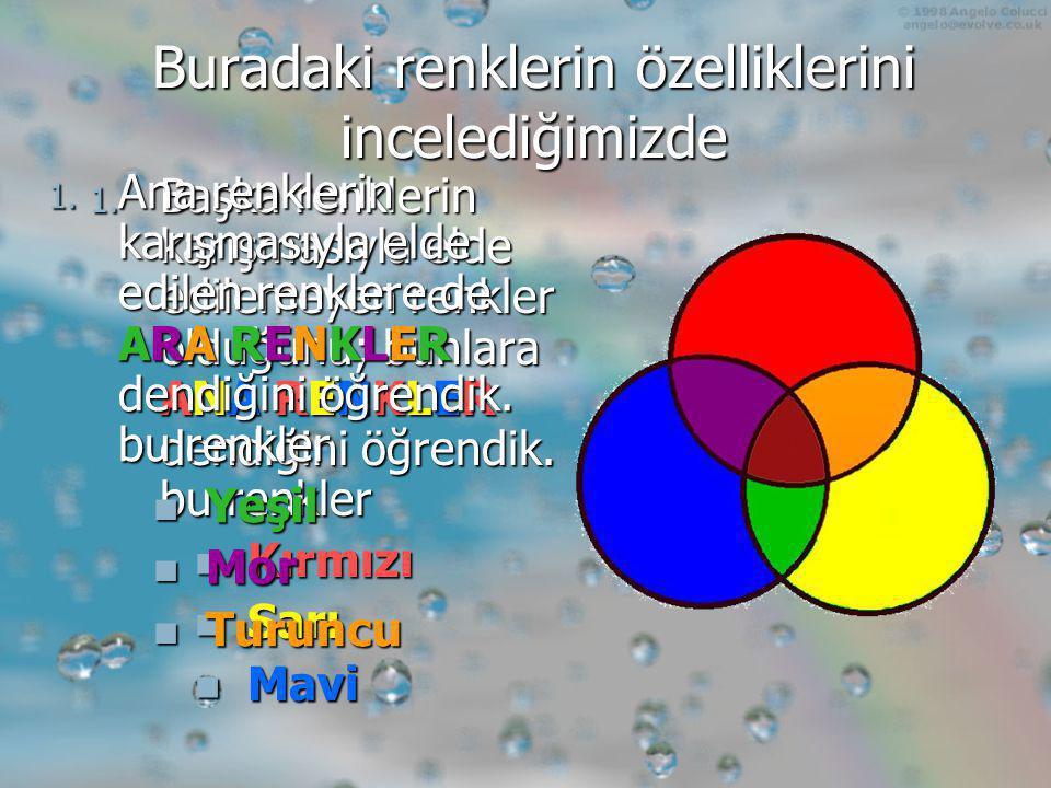 Nesneleri renkli algılamamızın nedeni; ışıktaki yedi renkten bir kısmının nesne tarafından emilip bir kısmının yansıması sonucu göz ve beyinde oluşturduğu duyumdur.