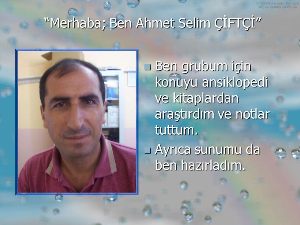 Merhaba; Ben Ahmet Selim ÇİFTÇİ  Ben grubum için konuyu ansiklopedi ve kitaplardan araştırdım ve notlar tuttum.