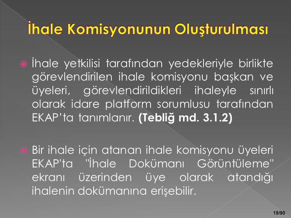 19/90  İhale yetkilisi tarafından yedekleriyle birlikte görevlendirilen ihale komisyonu başkan ve üyeleri, görevlendirildikleri ihaleyle sınırlı olar