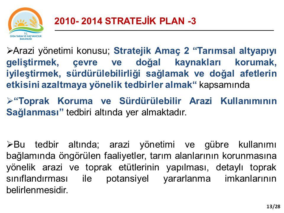 """ Arazi yönetimi konusu; Stratejik Amaç 2 """"Tarımsal altyapıyı geliştirmek, çevre ve doğal kaynakları korumak, iyileştirmek, sürdürülebilirliği sağlama"""
