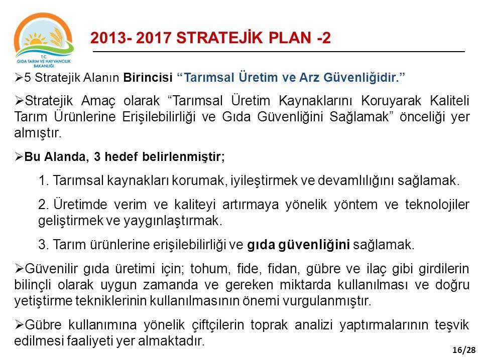 """2013- 2017 STRATEJİK PLAN -2  5 Stratejik Alanın Birincisi """"Tarımsal Üretim ve Arz Güvenliğidir.""""  Stratejik Amaç olarak """"Tarımsal Üretim Kaynakları"""