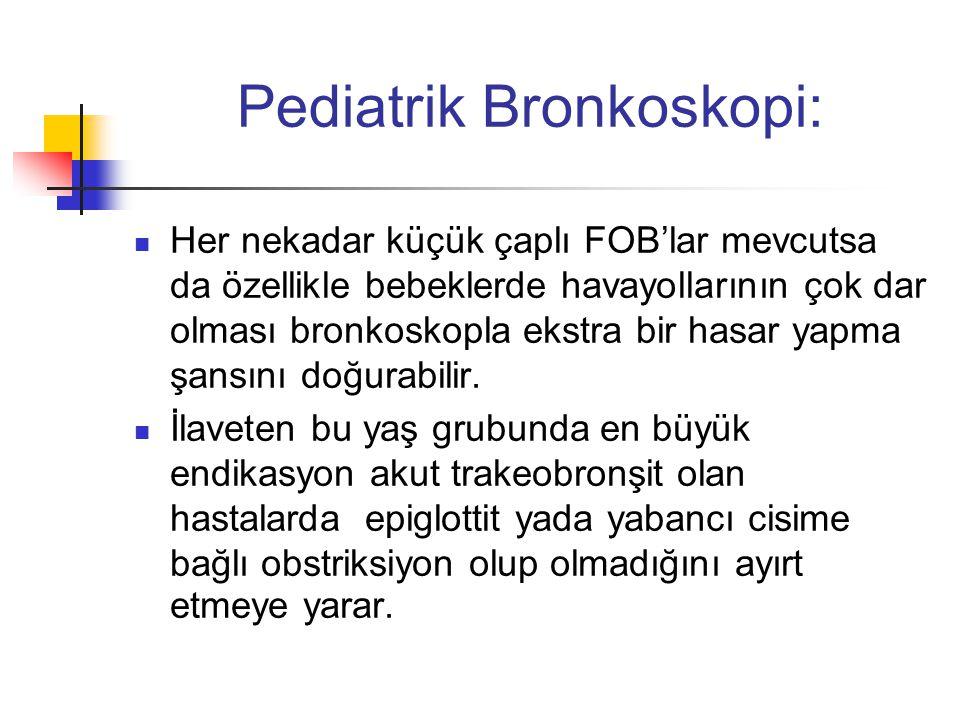 Pediatrik Bronkoskopi:  Her nekadar küçük çaplı FOB'lar mevcutsa da özellikle bebeklerde havayollarının çok dar olması bronkoskopla ekstra bir hasar