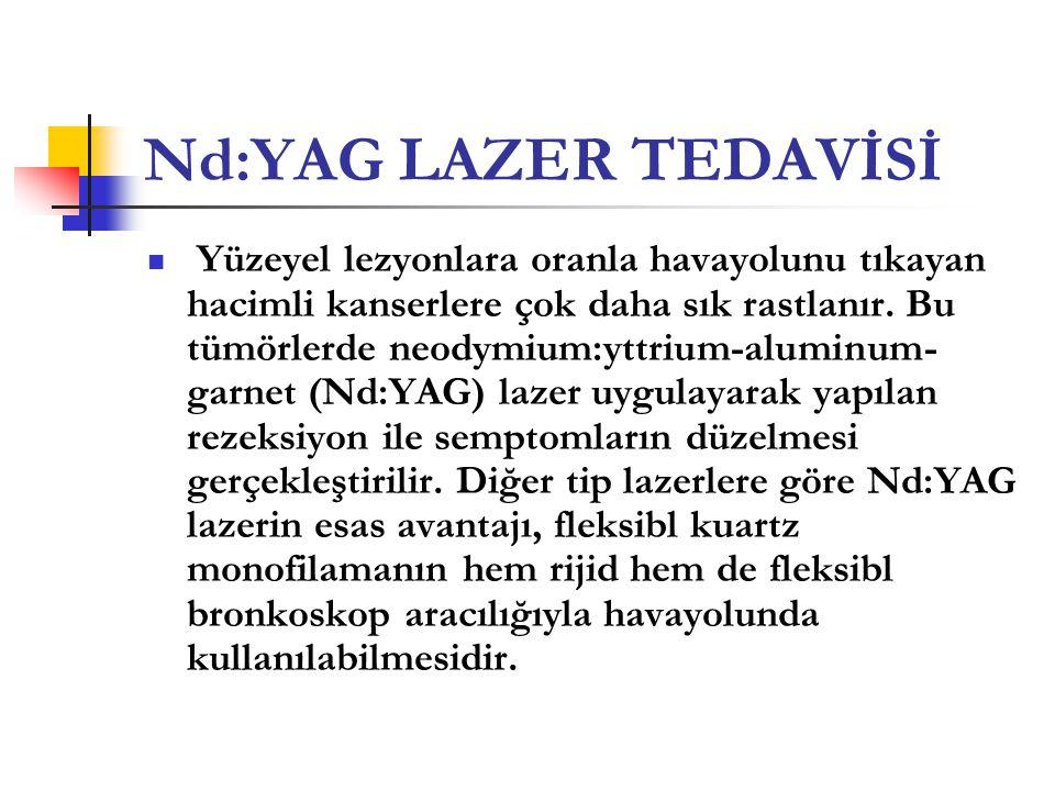 Nd:YAG LAZER TEDAVİSİ  Yüzeyel lezyonlara oranla havayolunu tıkayan hacimli kanserlere çok daha sık rastlanır. Bu tümörlerde neodymium:yttrium-alumin