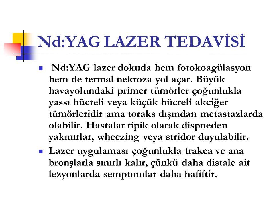 Nd:YAG LAZER TEDAVİSİ  Nd:YAG lazer dokuda hem fotokoagülasyon hem de termal nekroza yol açar. Büyük havayolundaki primer tümörler çoğunlukla yassı h