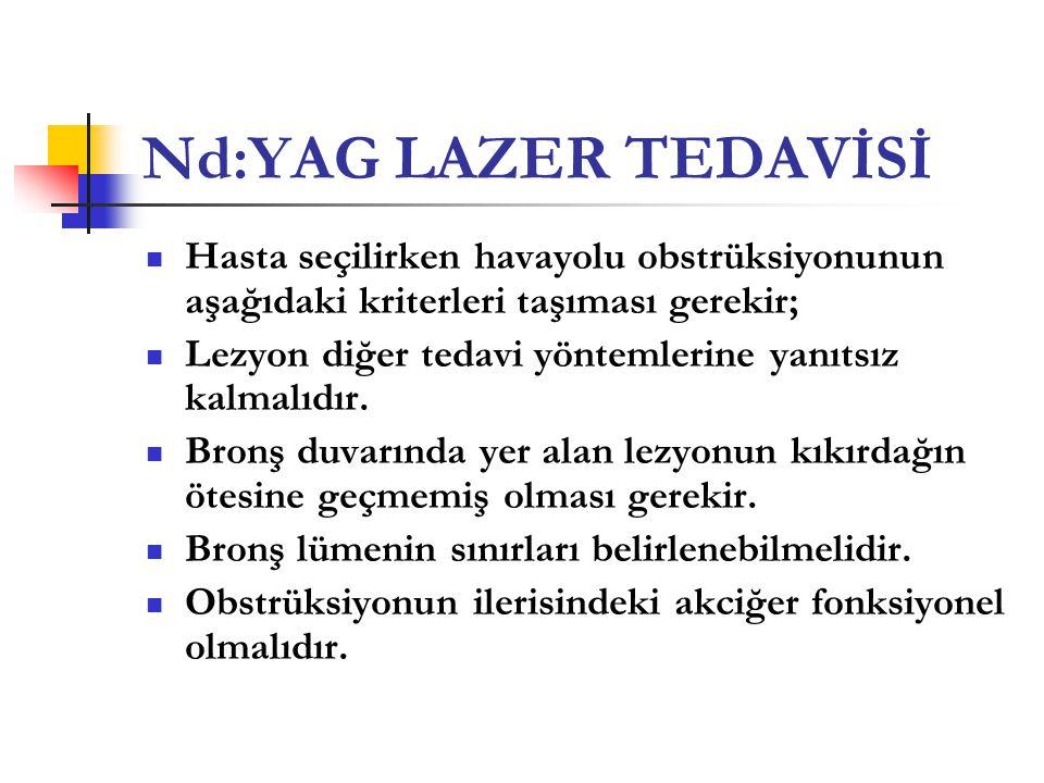 Nd:YAG LAZER TEDAVİSİ  Hasta seçilirken havayolu obstrüksiyonunun aşağıdaki kriterleri taşıması gerekir;  Lezyon diğer tedavi yöntemlerine yanıtsız