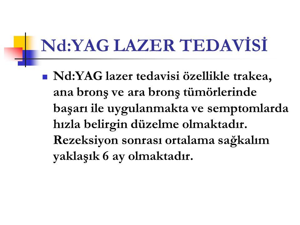 Nd:YAG LAZER TEDAVİSİ  Nd:YAG lazer tedavisi özellikle trakea, ana bronş ve ara bronş tümörlerinde başarı ile uygulanmakta ve semptomlarda hızla beli