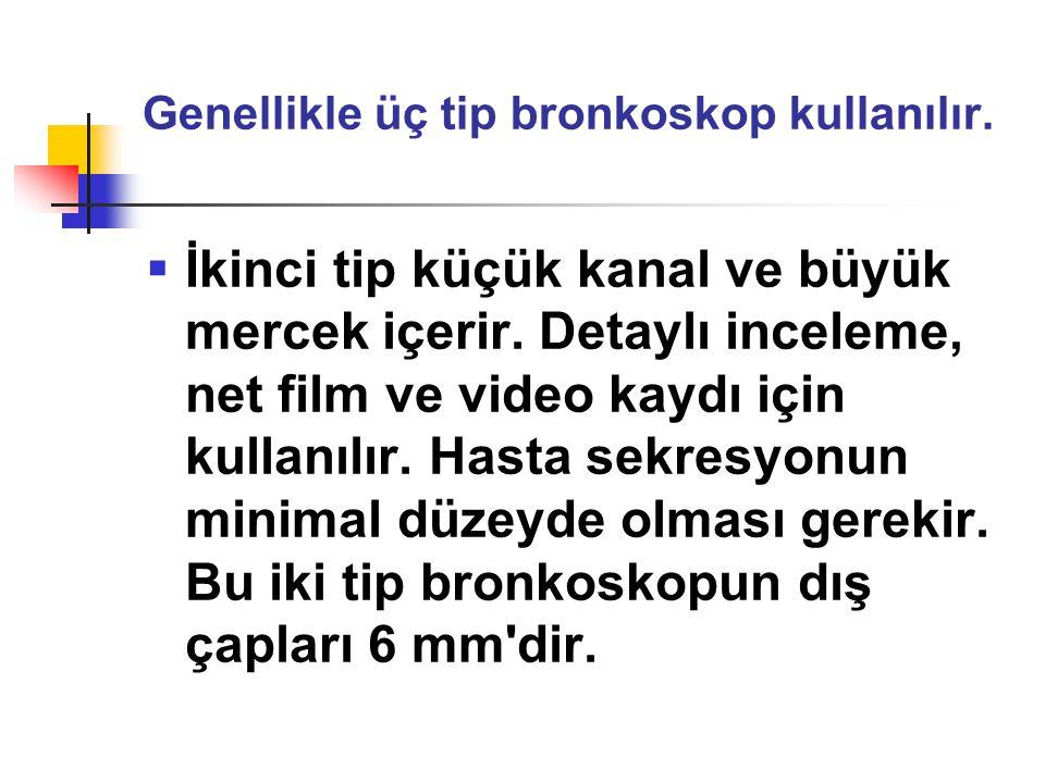Genellikle üç tip bronkoskop kullanılır.  İkinci tip küçük kanal ve büyük mercek içerir. Detaylı inceleme, net film ve video kaydı için kullanılır. H