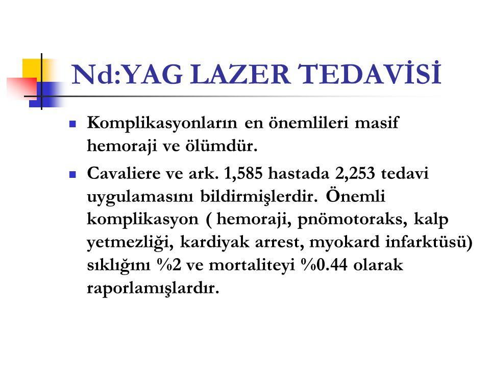 Nd:YAG LAZER TEDAVİSİ  Komplikasyonların en önemlileri masif hemoraji ve ölümdür.  Cavaliere ve ark. 1,585 hastada 2,253 tedavi uygulamasını bildirm