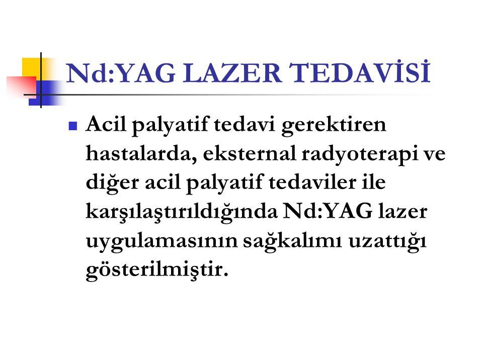Nd:YAG LAZER TEDAVİSİ  Acil palyatif tedavi gerektiren hastalarda, eksternal radyoterapi ve diğer acil palyatif tedaviler ile karşılaştırıldığında Nd
