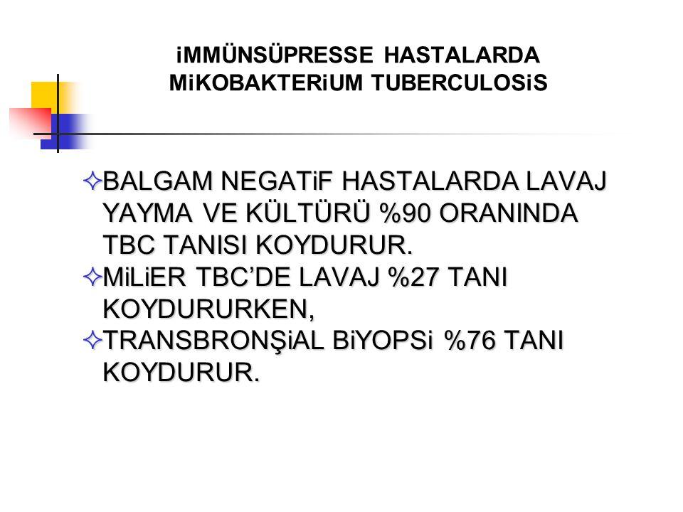 iMMÜNSÜPRESSE HASTALARDA MiKOBAKTERiUM TUBERCULOSiS  BALGAM NEGATiF HASTALARDA LAVAJ YAYMA VE KÜLTÜRÜ %90 ORANINDA TBC TANISI KOYDURUR.  MiLiER TBC'
