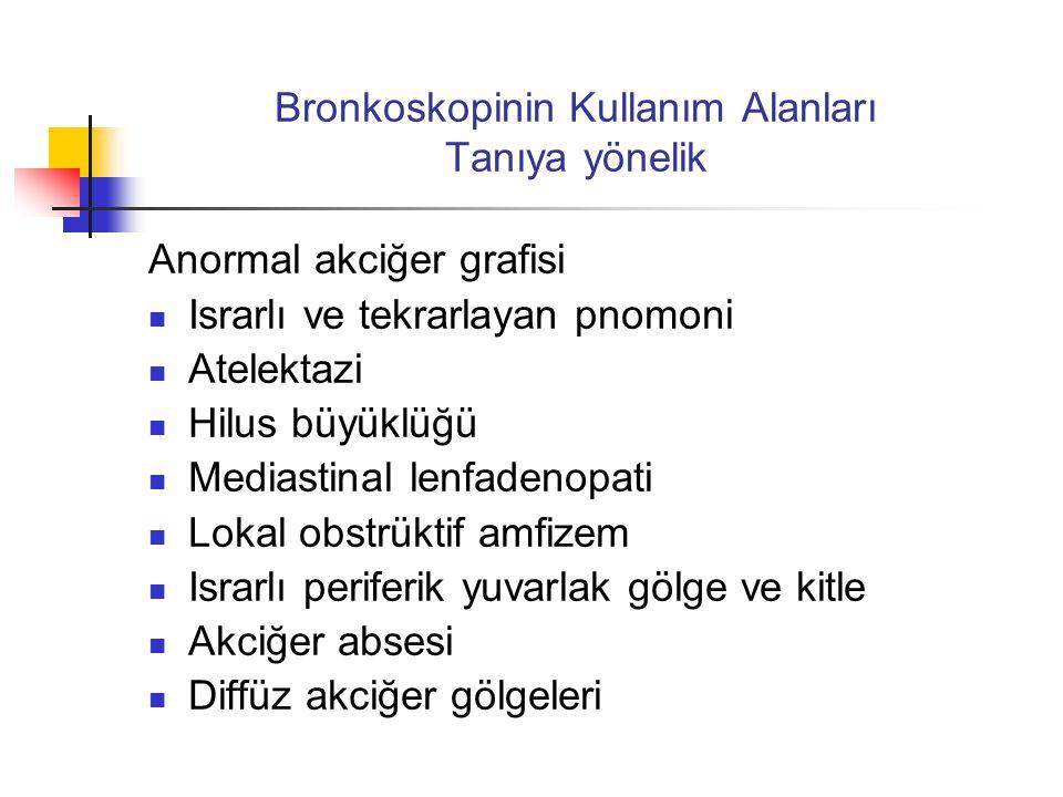 Bronkoskopinin Kullanım Alanları Tanıya yönelik Anormal akciğer grafisi  Israrlı ve tekrarlayan pnomoni  Atelektazi  Hilus büyüklüğü  Mediastinal