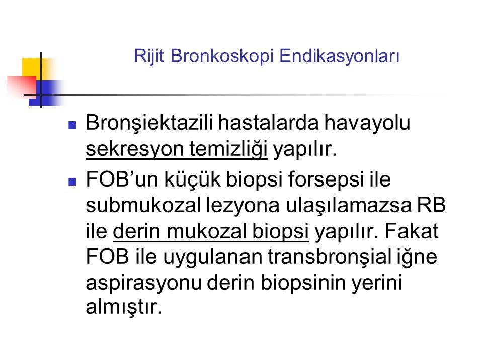 Rijit Bronkoskopi Endikasyonları  Bronşiektazili hastalarda havayolu sekresyon temizliği yapılır.  FOB'un küçük biopsi forsepsi ile submukozal lezyo