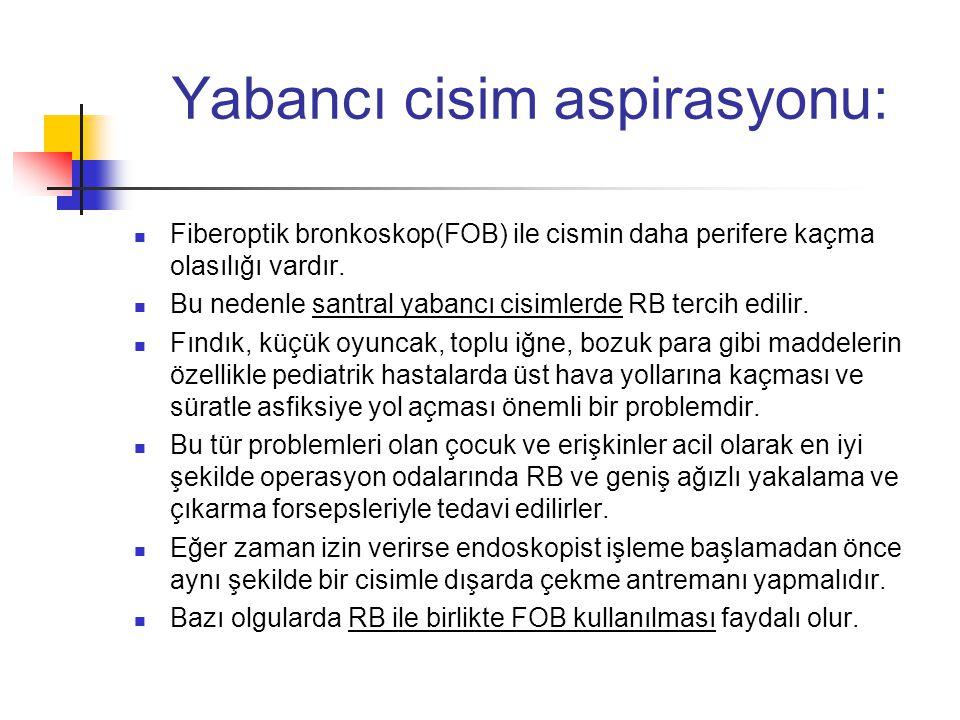 Yabancı cisim aspirasyonu:  Fiberoptik bronkoskop(FOB) ile cismin daha perifere kaçma olasılığı vardır.  Bu nedenle santral yabancı cisimlerde RB te