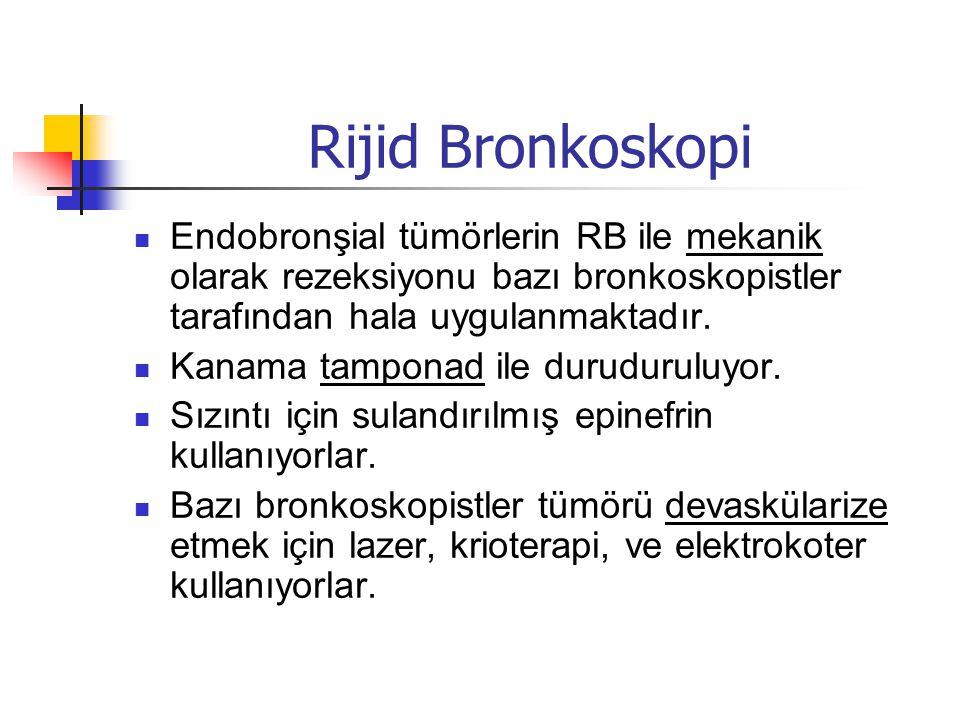 Rijid Bronkoskopi  Endobronşial tümörlerin RB ile mekanik olarak rezeksiyonu bazı bronkoskopistler tarafından hala uygulanmaktadır.  Kanama tamponad