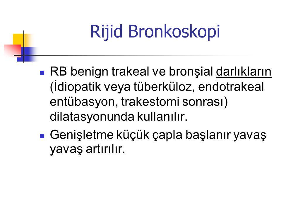 Rijid Bronkoskopi  RB benign trakeal ve bronşial darlıkların (İdiopatik veya tüberküloz, endotrakeal entübasyon, trakestomi sonrası) dilatasyonunda k