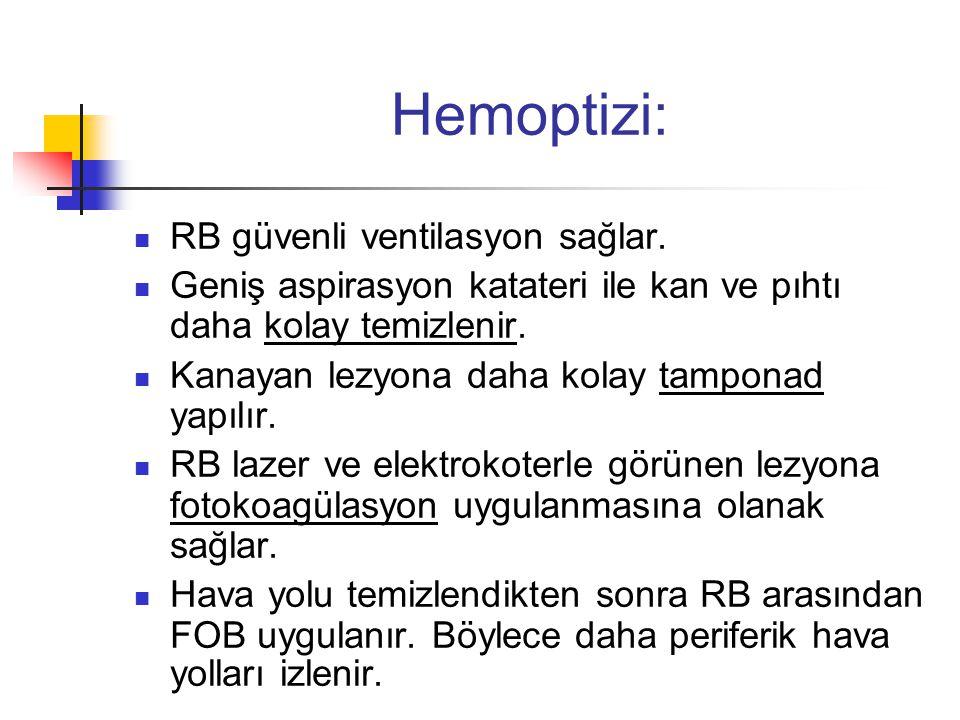 Hemoptizi:  RB güvenli ventilasyon sağlar.  Geniş aspirasyon katateri ile kan ve pıhtı daha kolay temizlenir.  Kanayan lezyona daha kolay tamponad