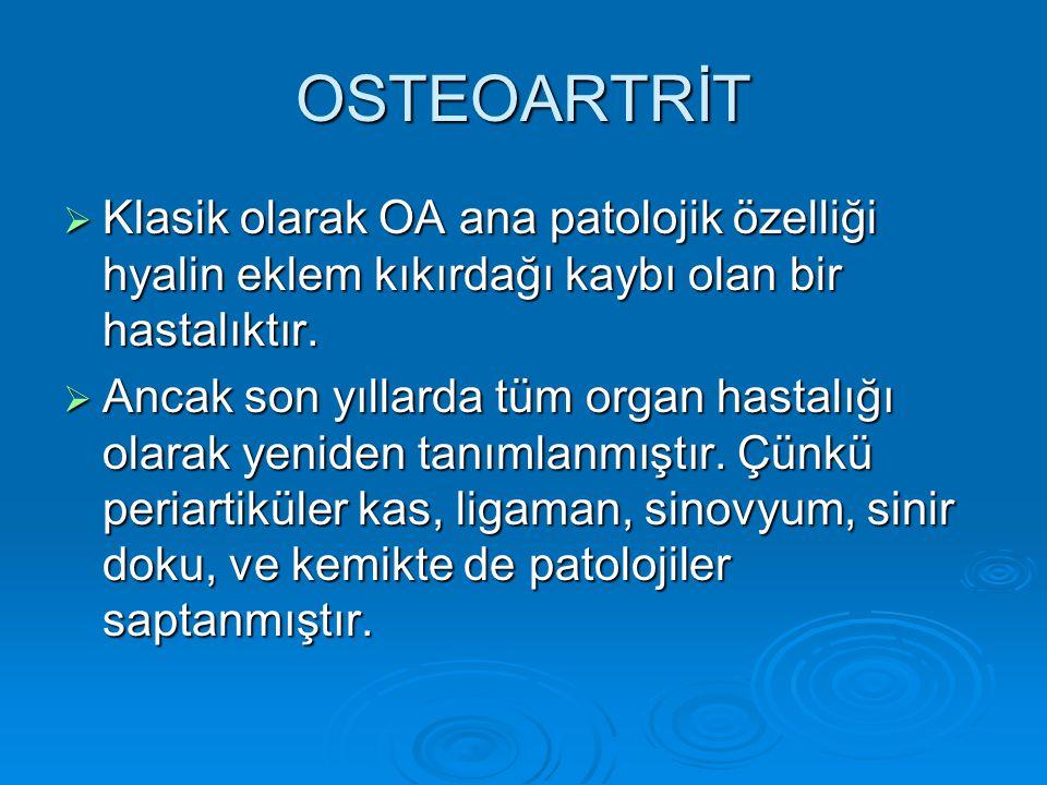 ACR KRİTERLERİ DİZ (KLİNİK ve RADYOLOJİK)  Bir önceki ayın çoğu gününde diz ağrısı  Radyografide eklem sınırlarında osteofit  Sinovyal sıvı incelemesinde tipik OA bulguları  Yaşın 40 veya daha fazla olması  Sabah katılığının 30 dakikadan az olması  Aktif eklem hareketinde krepitasyon saptanması •1,2 veya 1,3,5,6 veya 1,4,5,6 varsa OA