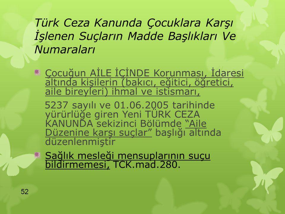 Türk Ceza Kanunda Çocuklara Karşı İşlenen Suçların Madde Başlıkları Ve Numaraları Çocuğun AİLE İÇİNDE Korunması, İdaresi altında kişilerin (bakıcı, eğ