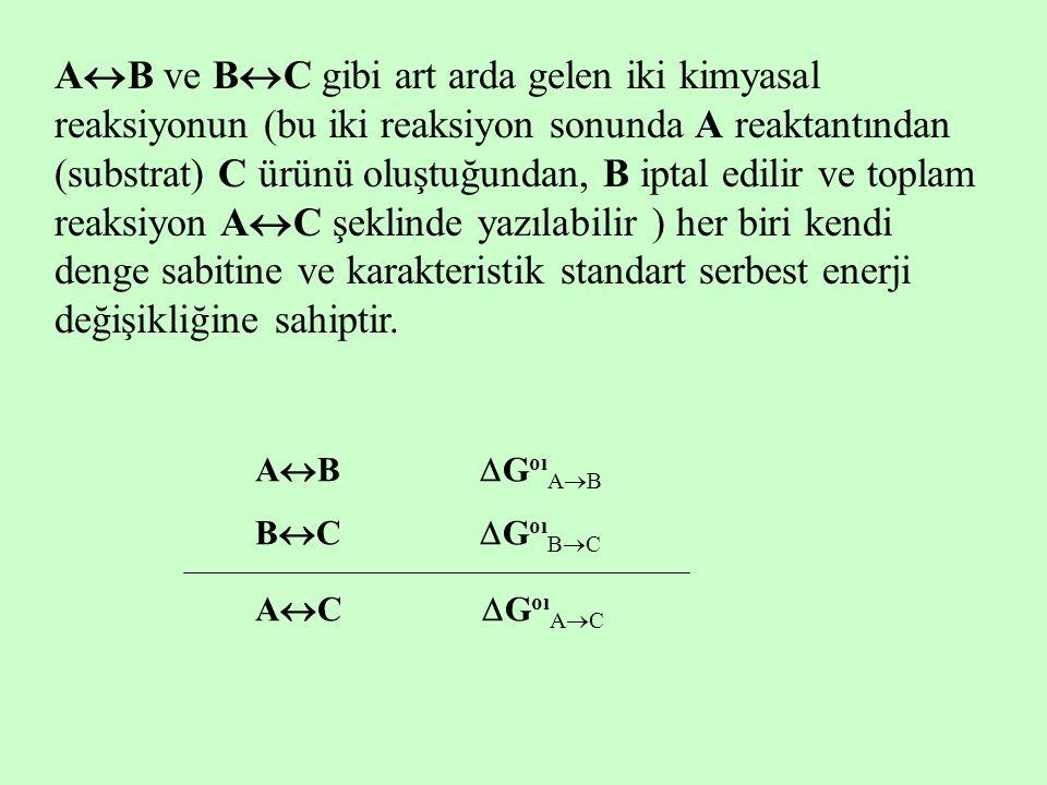 A  B ve B  C gibi art arda gelen iki kimyasal reaksiyonun (bu iki reaksiyon sonunda A reaktantından (substrat) C ürünü oluştuğundan, B iptal edilir