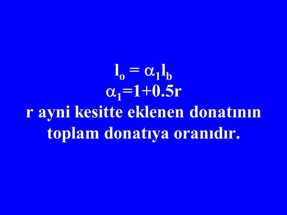 l o =  1 l b  1 =1+0.5r r ayni kesitte eklenen donatının toplam donatıya oranıdır.