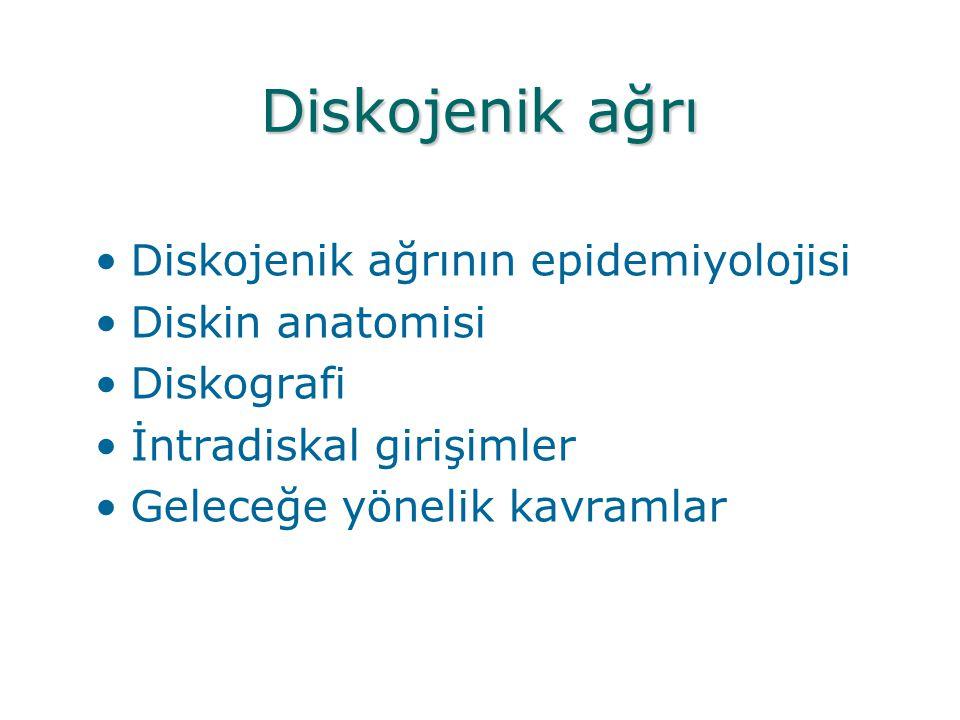 Diskojenik ağrı •Diskojenik ağrının epidemiyolojisi •Diskin anatomisi •Diskografi •İntradiskal girişimler •Geleceğe yönelik kavramlar