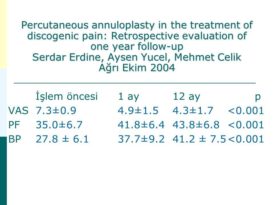 Percutaneous annuloplasty in the treatment of discogenic pain: Retrospective evaluation of one year follow-up Serdar Erdine, Aysen Yucel, Mehmet Celik