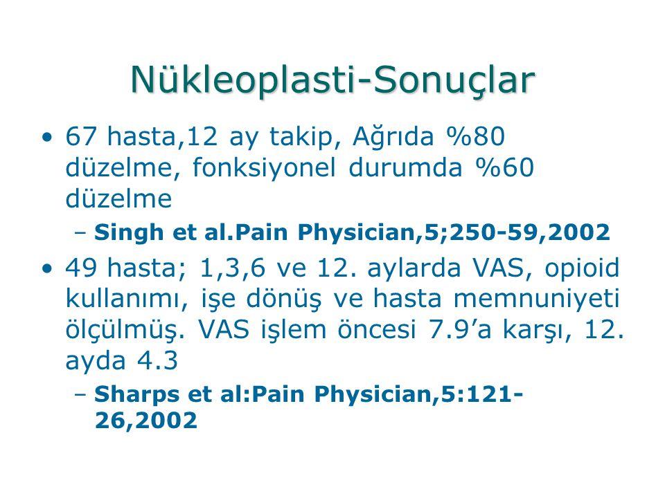 Nükleoplasti-Sonuçlar •67 hasta,12 ay takip, Ağrıda %80 düzelme, fonksiyonel durumda %60 düzelme –Singh et al.Pain Physician,5;250-59,2002 •49 hasta;