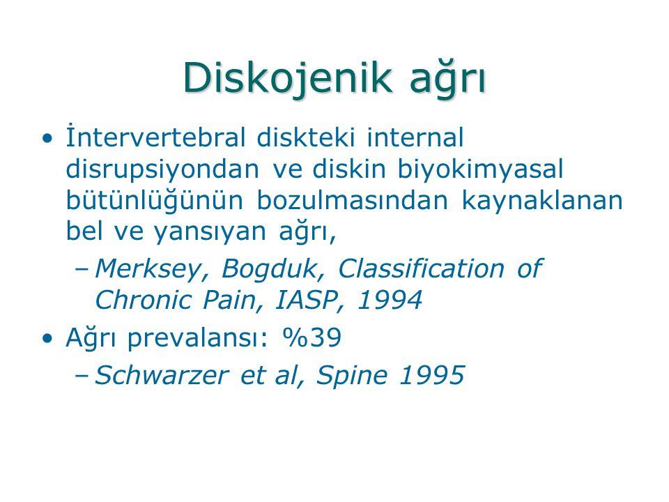 Diskojenik ağrı •İntervertebral diskteki internal disrupsiyondan ve diskin biyokimyasal bütünlüğünün bozulmasından kaynaklanan bel ve yansıyan ağrı, –