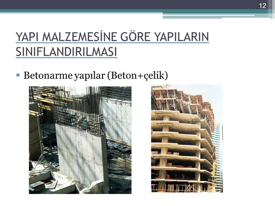 YAPI MALZEMESİNE GÖRE YAPILARIN SINIFLANDIRILMASI  Betonarme yapılar (Beton+çelik) 12