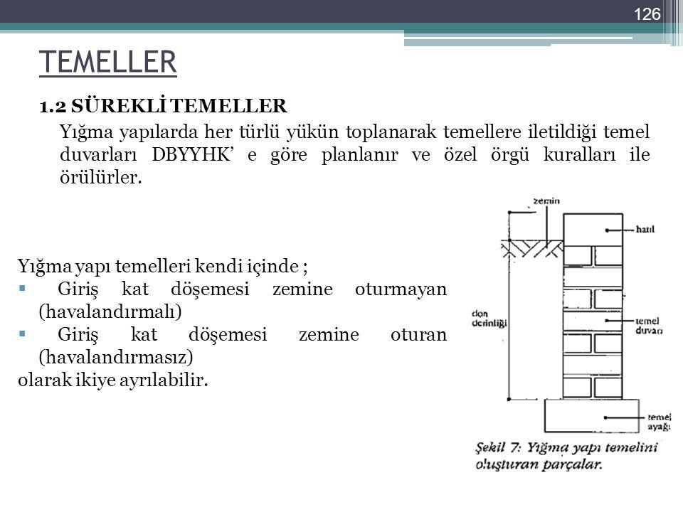 TEMELLER 1.2 SÜREKLİ TEMELLER Yığma yapılarda her türlü yükün toplanarak temellere iletildiği temel duvarları DBYYHK' e göre planlanır ve özel örgü ku