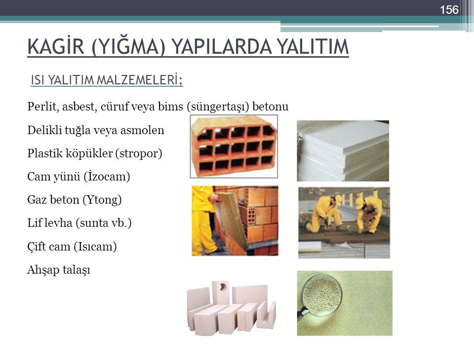 KAGİR (YIĞMA) YAPILARDA YALITIM Perlit, asbest, cüruf veya bims (süngertaşı) betonu Delikli tuğla veya asmolen Plastik köpükler (stropor) Cam yünü (İz