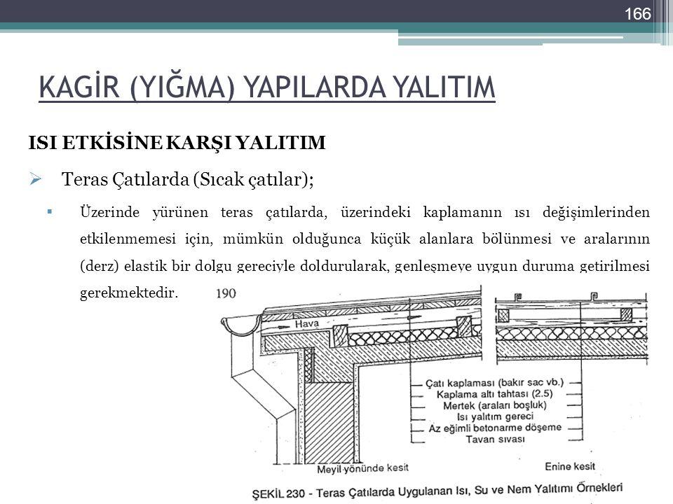 KAGİR (YIĞMA) YAPILARDA YALITIM ISI ETKİSİNE KARŞI YALITIM  Teras Çatılarda (Sıcak çatılar);  Üzerinde yürünen teras çatılarda, üzerindeki kaplamanı