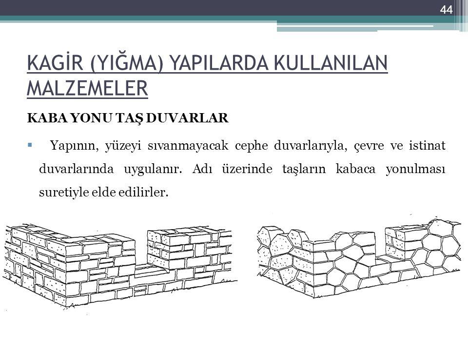 KAGİR (YIĞMA) YAPILARDA KULLANILAN MALZEMELER KABA YONU TAŞ DUVARLAR  Yapının, yüzeyi sıvanmayacak cephe duvarlarıyla, çevre ve istinat duvarlarında