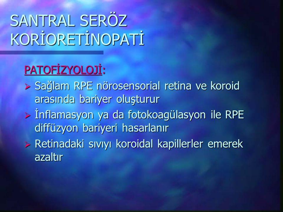 SANTRAL SERÖZ KORİORETİNOPATİ PATOFİZYOLOJİ:  Sağlam RPE nörosensorial retina ve koroid arasında bariyer oluşturur  İnflamasyon ya da fotokoagülasyon ile RPE diffüzyon bariyeri hasarlanır  Retinadaki sıvıyı koroidal kapillerler emerek azaltır