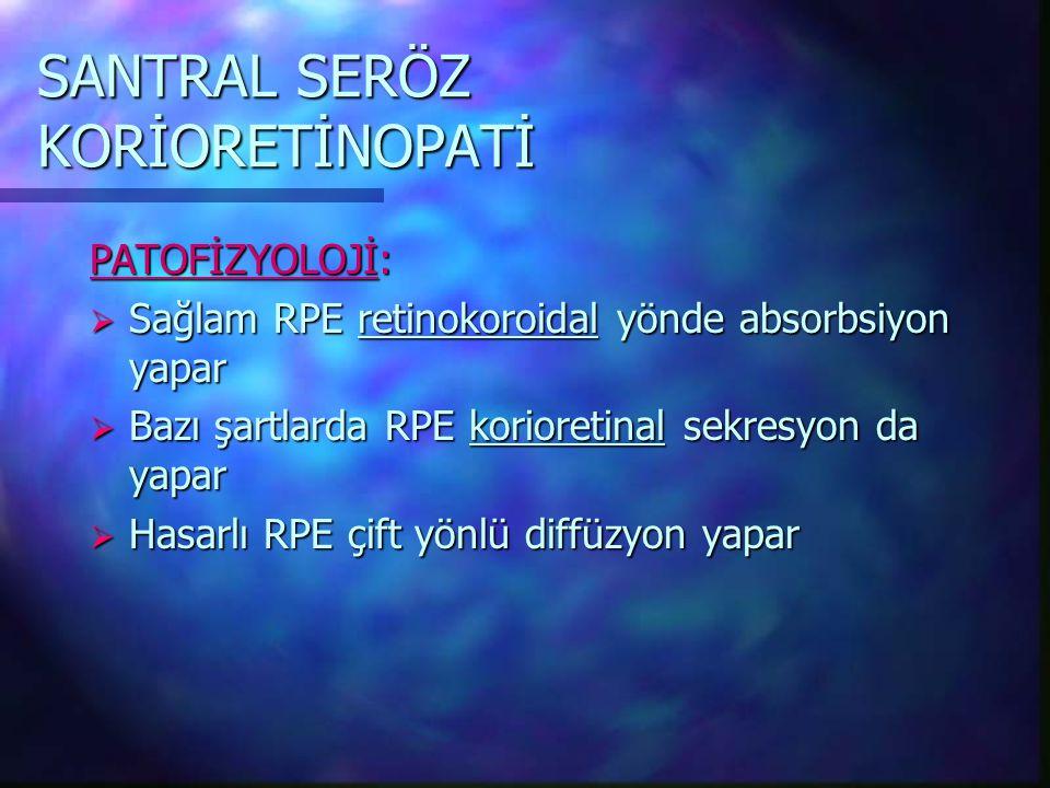 SANTRAL SERÖZ KORİORETİNOPATİ PATOFİZYOLOJİ:  Sağlam RPE retinokoroidal yönde absorbsiyon yapar  Bazı şartlarda RPE korioretinal sekresyon da yapar  Hasarlı RPE çift yönlü diffüzyon yapar