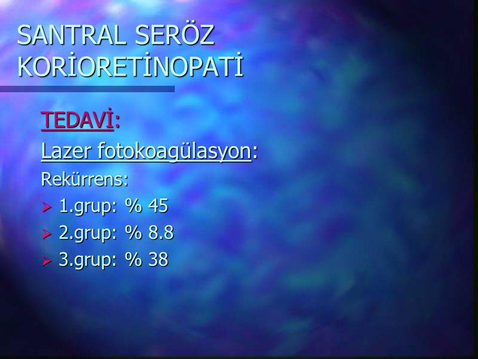 SANTRAL SERÖZ KORİORETİNOPATİ TEDAVİ: Lazer fotokoagülasyon: Rekürrens:  1.grup: % 45  2.grup: % 8.8  3.grup: % 38