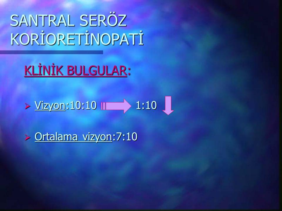 SANTRAL SERÖZ KORİORETİNOPATİ TANI:  Oftalmoskopi  Fluorescein anjiografi  İndosiyanin green anjiografi  Optik koherans tomografi