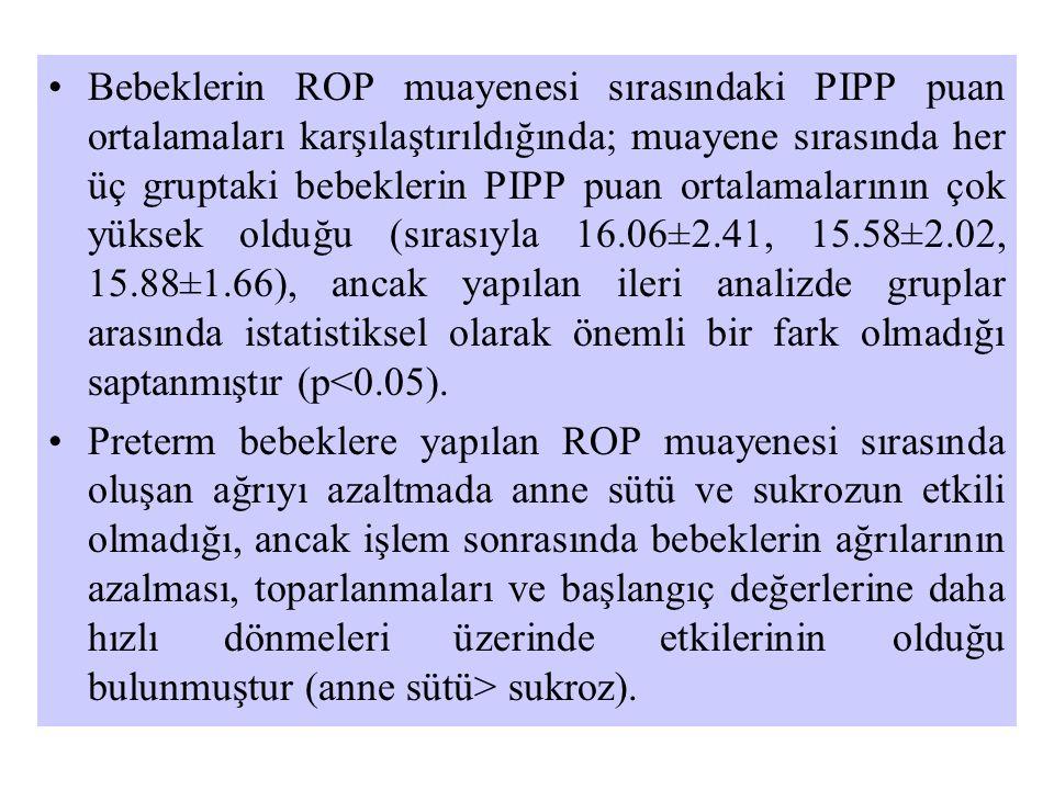•Bebeklerin ROP muayenesi sırasındaki PIPP puan ortalamaları karşılaştırıldığında; muayene sırasında her üç gruptaki bebeklerin PIPP puan ortalamaları