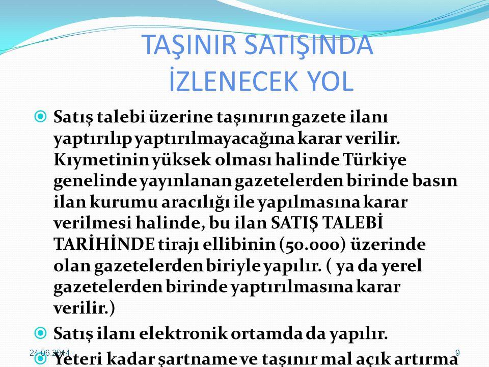 TAŞINIR SATIŞINDA İZLENECEK YOL  2.satış günü 1.