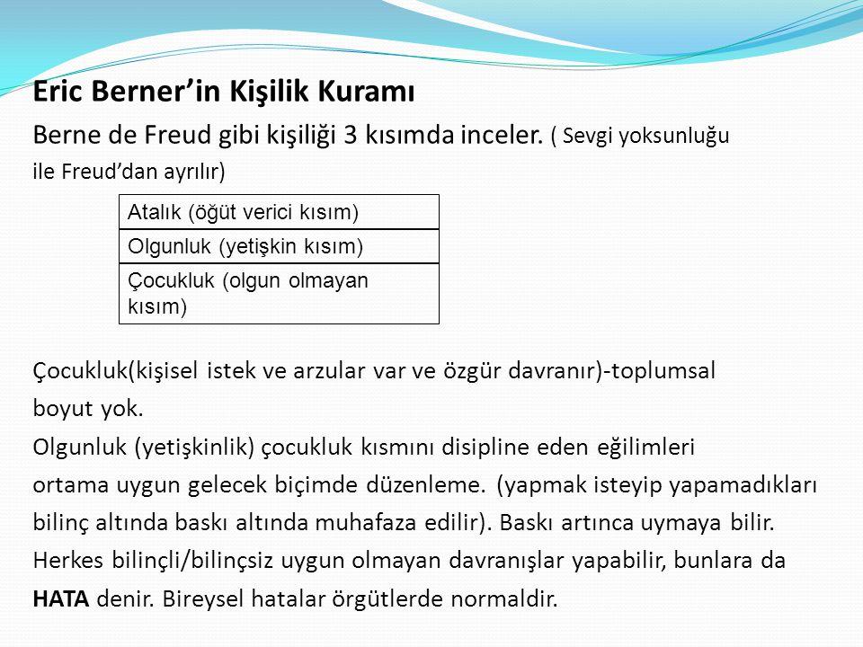 Eric Berner'in Kişilik Kuramı Berne de Freud gibi kişiliği 3 kısımda inceler. ( Sevgi yoksunluğu ile Freud'dan ayrılır) Çocukluk(kişisel istek ve arzu
