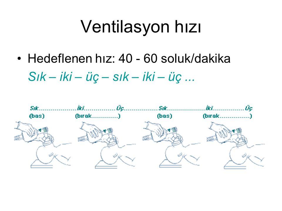 Ventilasyon hızı •Hedeflenen hız: 40 - 60 soluk/dakika Sık – iki – üç – sık – iki – üç...