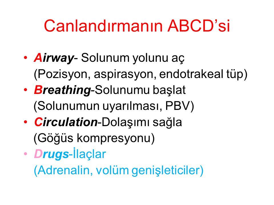 Canlandırmanın ABCD'si •Airway- Solunum yolunu aç (Pozisyon, aspirasyon, endotrakeal tüp) •Breathing-Solunumu başlat (Solunumun uyarılması, PBV) •Circ