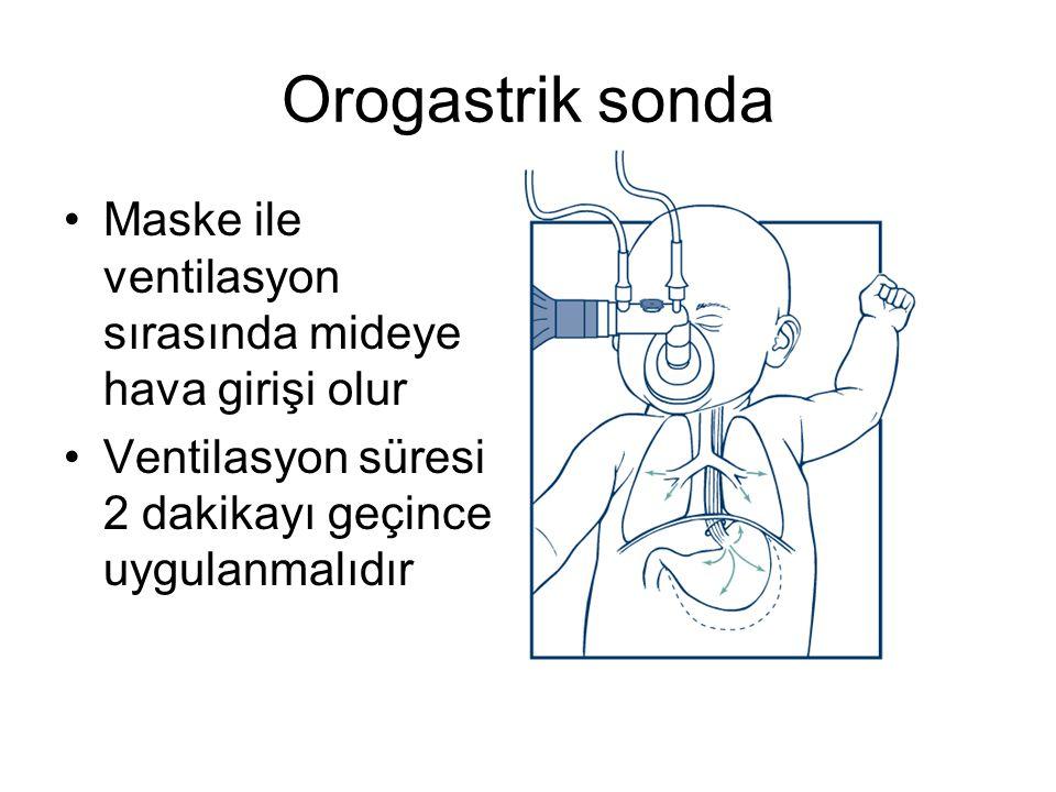 Orogastrik sonda •Maske ile ventilasyon sırasında mideye hava girişi olur •Ventilasyon süresi 2 dakikayı geçince uygulanmalıdır