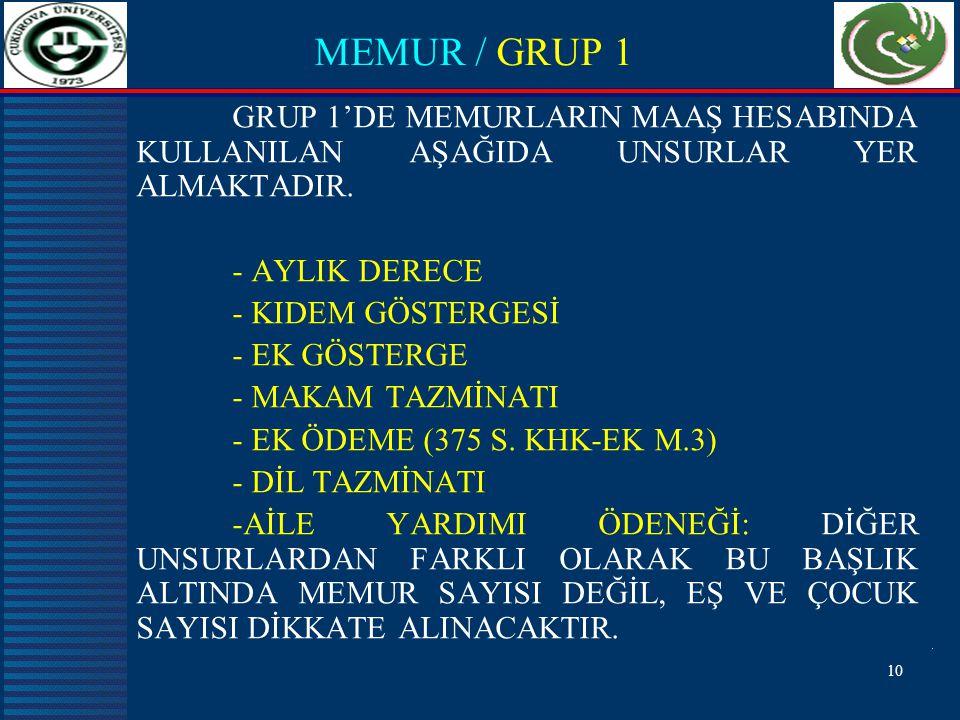 10 MEMUR / GRUP 1 GRUP 1'DE MEMURLARIN MAAŞ HESABINDA KULLANILAN AŞAĞIDA UNSURLAR YER ALMAKTADIR.