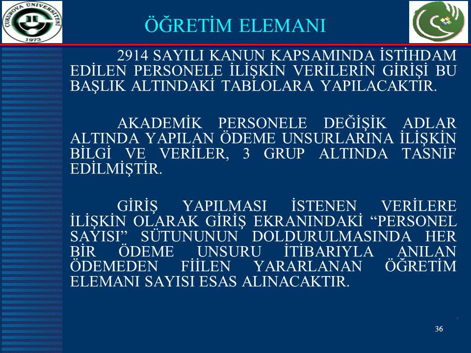 36 ÖĞRETİM ELEMANI 2914 SAYILI KANUN KAPSAMINDA İSTİHDAM EDİLEN PERSONELE İLİŞKİN VERİLERİN GİRİŞİ BU BAŞLIK ALTINDAKİ TABLOLARA YAPILACAKTIR.