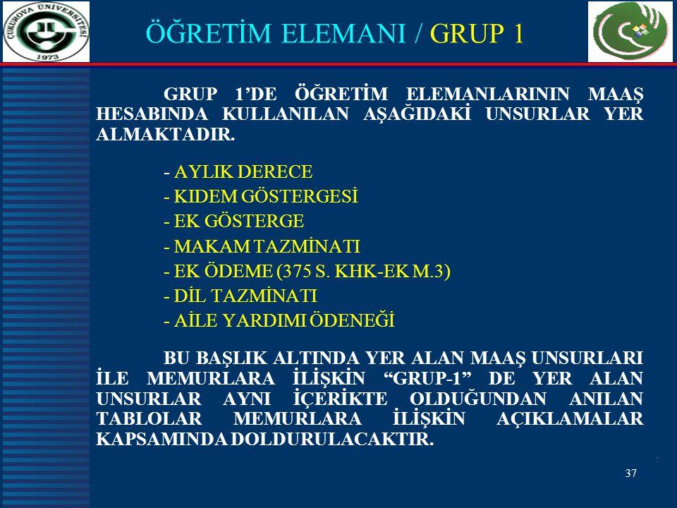 37 ÖĞRETİM ELEMANI / GRUP 1 GRUP 1'DE ÖĞRETİM ELEMANLARININ MAAŞ HESABINDA KULLANILAN AŞAĞIDAKİ UNSURLAR YER ALMAKTADIR.