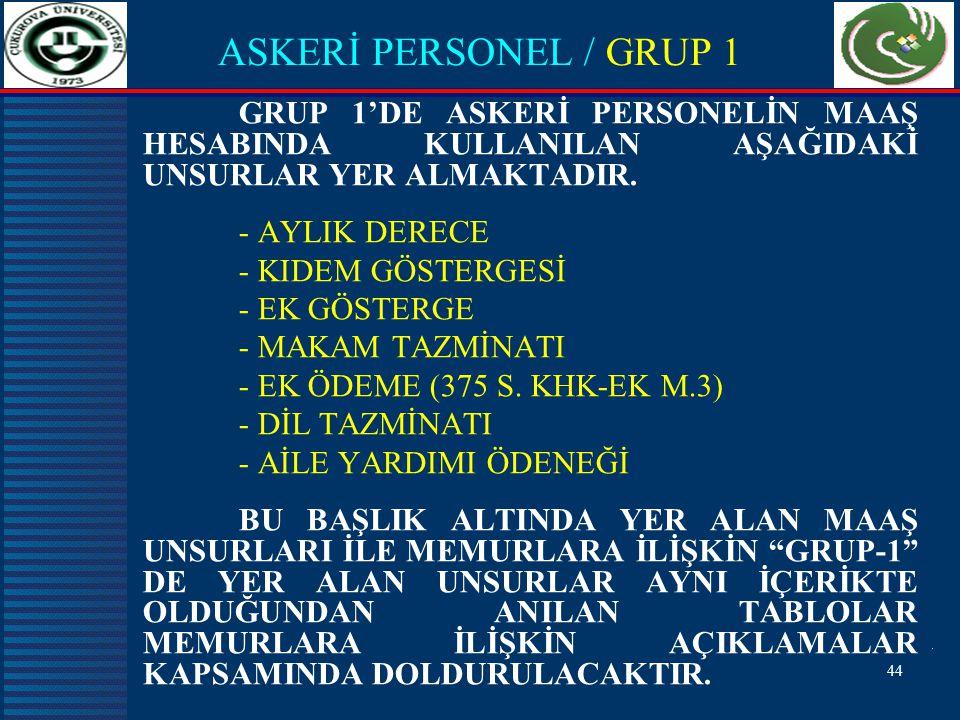 44 ASKERİ PERSONEL / GRUP 1 GRUP 1'DE ASKERİ PERSONELİN MAAŞ HESABINDA KULLANILAN AŞAĞIDAKİ UNSURLAR YER ALMAKTADIR.