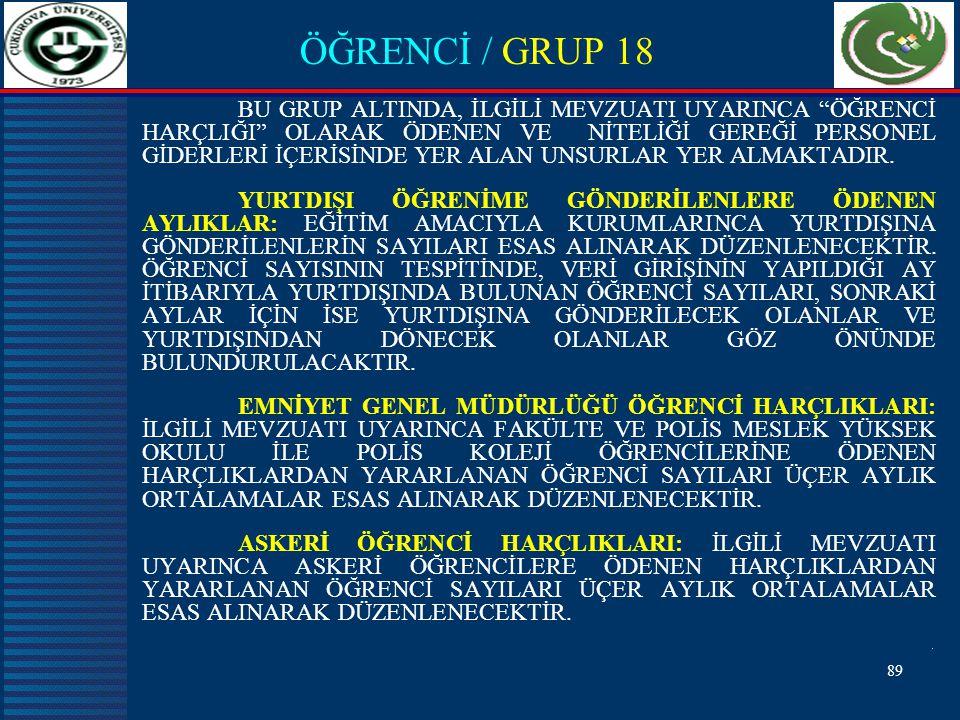 89 ÖĞRENCİ / GRUP 18 BU GRUP ALTINDA, İLGİLİ MEVZUATI UYARINCA ÖĞRENCİ HARÇLIĞI OLARAK ÖDENEN VE NİTELİĞİ GEREĞİ PERSONEL GİDERLERİ İÇERİSİNDE YER ALAN UNSURLAR YER ALMAKTADIR.